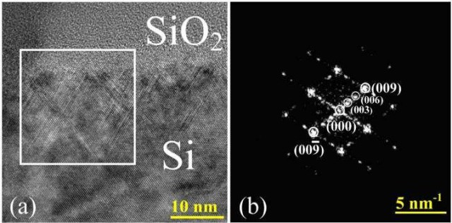 Electron microscopic image of the layer of the hexagonal silicon phase at the interface with the irradiated SiO2 film (a) and the pattern of diffraction reflexes obtained using the Fourier transform of the selected region (b). Credit: Lobachevsky University